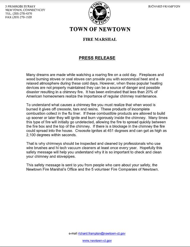 notice from Fire Marshal regarding Chimney Safety
