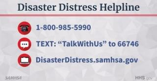 Disaster Distress Helpline 18009855990