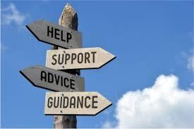 Image of a sign for coping steps: help, support, advice, guidance